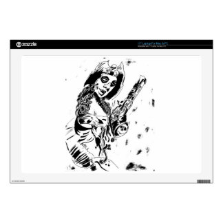 "Pirate Girl with Gun Skins For 17"" Laptops"