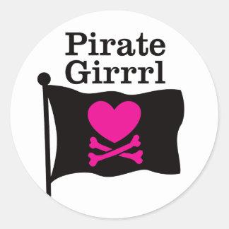 Pirate Girrrl Classic Round Sticker