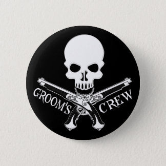 Pirate Groom's Crew Dark Button