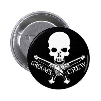 Pirate Groom's Crew Dark Button