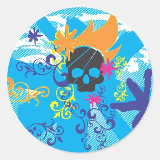 Pirate-Grunge-Graphics.ai Pegatina Redonda