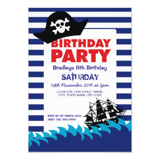 Pirate Hat Boat Boys Nautical Birthday Card