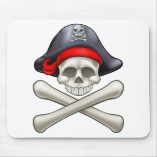 Pirate Hat Cartoon Skull and Crossbones Mouse Pad