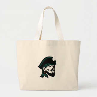 Pirate Head Eyepatch Looking Up Retro Large Tote Bag