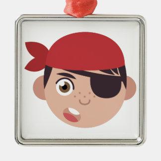 Pirate Head Metal Ornament
