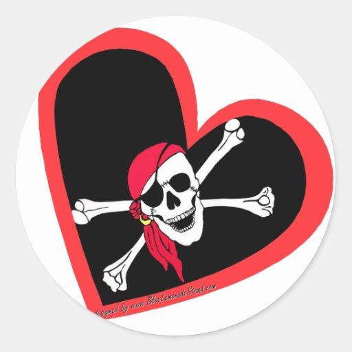 Pirate heart sticker