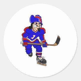 Pirate Ice Hockey Player Round Stickers