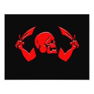 Pirate Icon #3-Red 4.25x5.5 Paper Invitation Card