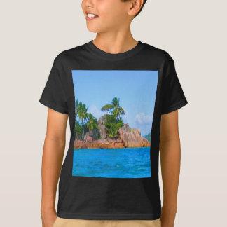 pirate island seychelles palm trees sea T-Shirt