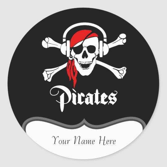 Pirate Jolly Roger Classic Round Sticker