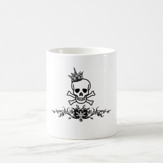 Pirate Jolly Roger Crowned Skull Neon Blue Black Coffee Mug