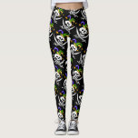 "Pirate, Jolly Roger, Mardi Gras style, Leggings<br><div class=""desc"">Jolly Roger for pirates,   style, </div>"