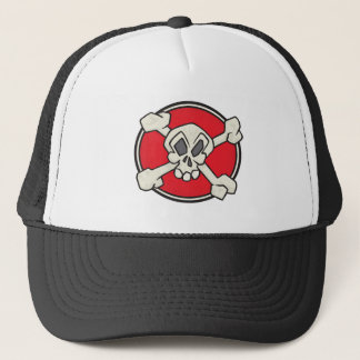 Pirate Jolly Roger Red Trucker Hat