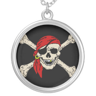 Pirate Jolly Roger Silver Plated Necklace