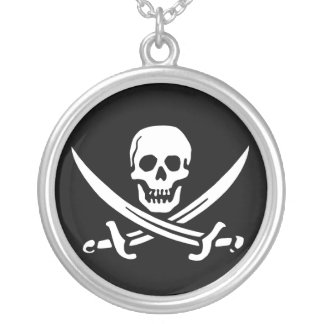 Pirate, Jolly Roger Silver Plated Necklace