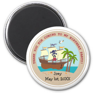 Pirate kid birthday party 2 inch round magnet