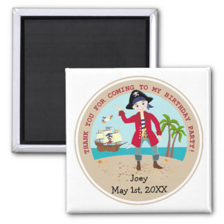 Pirate kid birthday party 2 inch square magnet