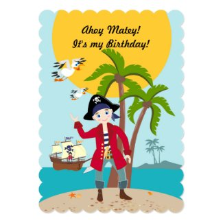 "Pirate kid birthday party 5"" x 7"" invitation card"
