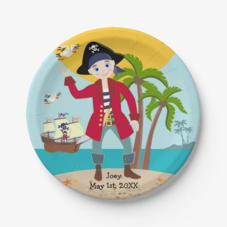 Pirate kid birthday party 7 inch paper plate