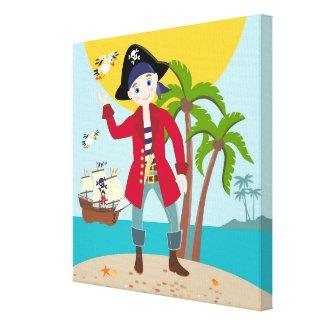 Pirate kid birthday party canvas print