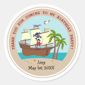 Pirate kid birthday party classic round sticker
