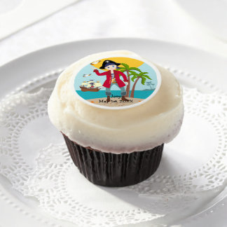 Pirate kid birthday party edible frosting rounds