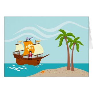 Pirate kid birthday party greeting card