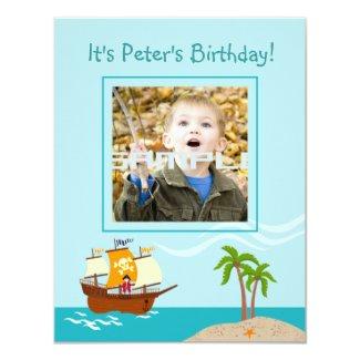 "Pirate kid birthday party 4.25"" x 5.5"" invitation card"
