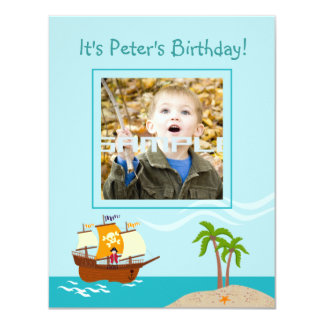 Pirate kid birthday party 4.25x5.5 paper invitation card