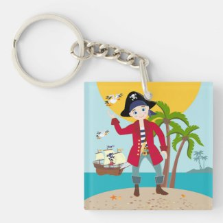 Pirate kid birthday party Double-Sided square acrylic keychain