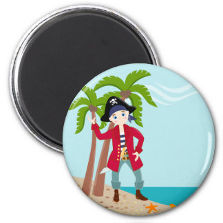 Pirate kid birthday party 2 inch round magnet