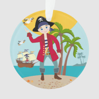 Pirate kid birthday party ornament