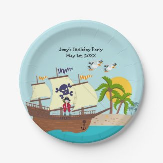 Pirate kid birthday party paper plate