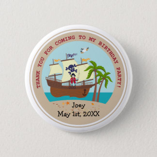 Pirate kid birthday party pinback button