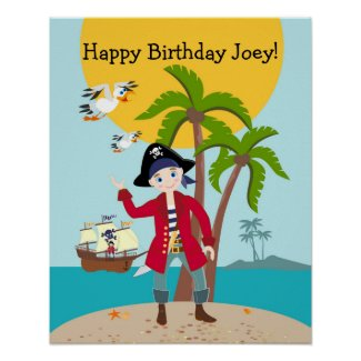 Pirate kid birthday party poster