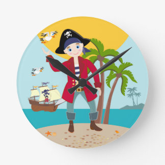 Pirate kid birthday party round clock