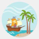 Pirate kid birthday party round sticker