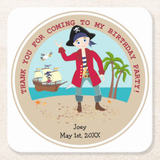 Pirate kid birthday party square paper coaster