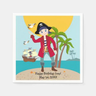 Pirate kid birthday party standard cocktail napkin