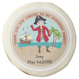 Pirate kid birthday party sugar cookie