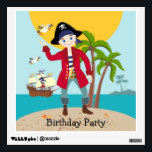 """Pirate kid birthday party wall decal<br><div class=""""desc"""">This product is for kids that love pirates and piracy stories. It features a cute little pirate boy that has arrived on this island with palm trees. There's a pirate ship in the horizon waiting for him to return with a treasure! Seagulls are watching. This product is ideal for a...</div>"""