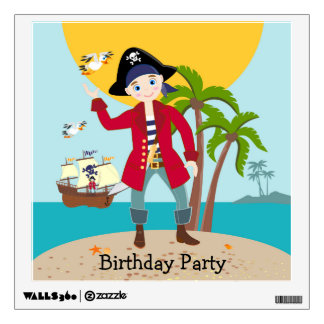 Pirate kid birthday party wall decal