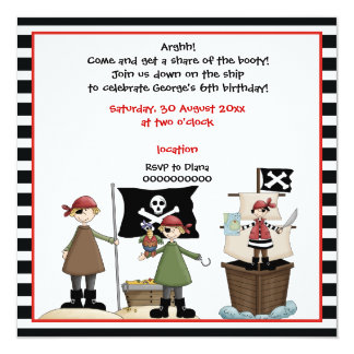 Pirate kids birthday party invitation-Black border Card