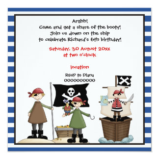 Pirate kids birthday party invitation- Blue border Card