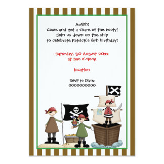 Pirate kids birthday party invitation-brown border card