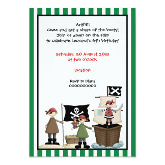 Pirate kids birthday party invitation-green border card