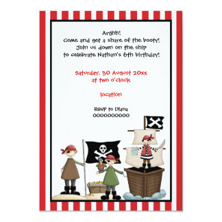 Pirate kids birthday party invitation- red border card