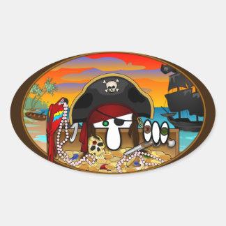 Pirate Kilroy Oval Sticker