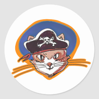 pirate kitty cartoon style funny illustration classic round sticker