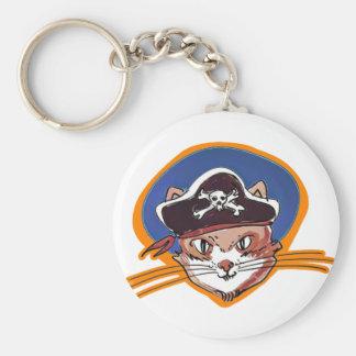 pirate kitty cartoon style funny illustration keychain